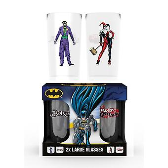 Batman Comic Joker og Harley Quinn 2X stort glas
