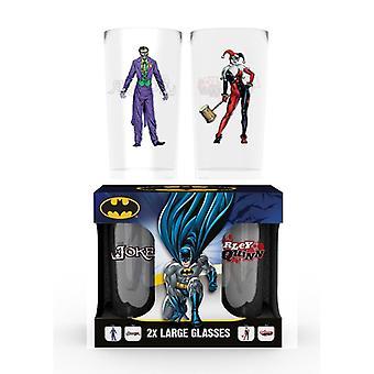 Batman sarjakuva jokeri & Harley Quinn 2X iso lasi