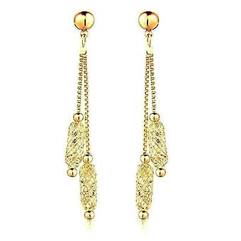 On sale - glistening stardust crystals rose gold or yellow gold dual dangling chain drop earrings