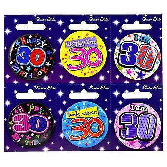 Simon Elvin 30th Birthday Small Badge (Pack Of 6)