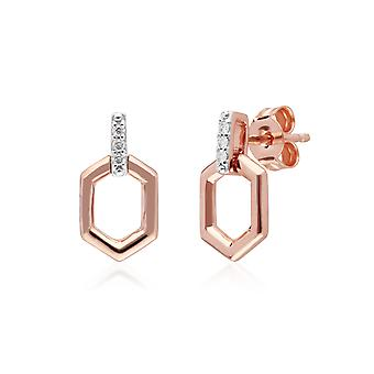 Diamond Pave Hex Bar  Drop Earrings in 9ct Rose Gold 191E0399019