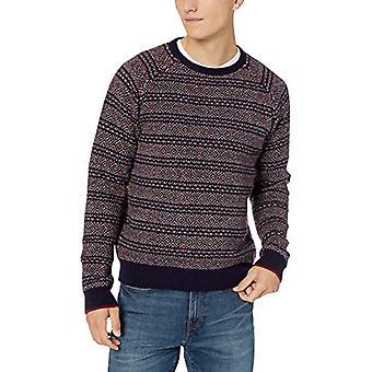 Brand - Goodthreads Men's Lambswool Fairisle Crewneck Sweater, Navy Re...
