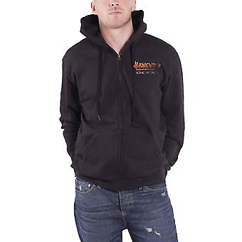 Hawkwind Hoodie Sonic Attack album Band Logo new Official Mens Black Zipped