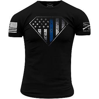 Grunt Style Blue Line Crest T-Shirt - Preto