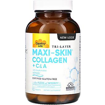 Country Life, Tri Layer Maxi-Skin Collagen + C & A, 90 Tablets