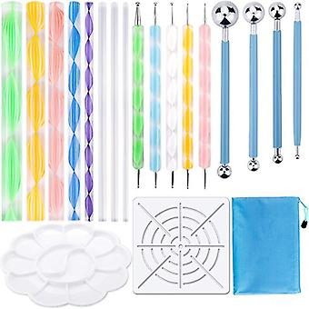 Stencil Ball Stylus Paint Tray, Dotting Pen Tools Set For Painting Rocks,