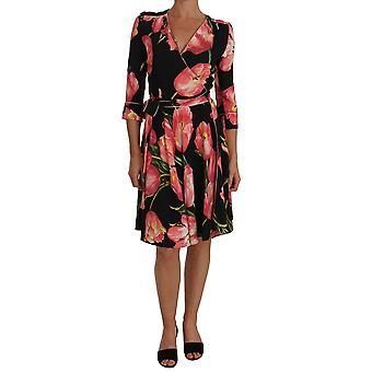 Dolce & Gabbana fekete rózsaszín tulipán print stretch shift ruha DR1446-1