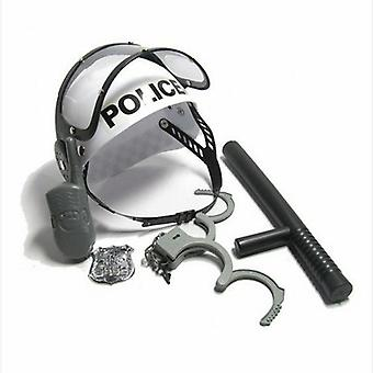 Policeman Role Play Boys Toy- Camouflage Hat Walkie Talkie Police Baton Emblem Handcuffs Set