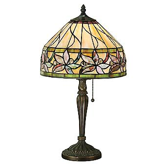 Intérieurs Ashtead - 1 Light Small Table Lamp Tiffany Glass, Dark Bronze Paint with Highlights, E27