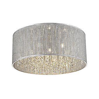 Éclairage de ressort - 6 lumière petit flush plafond lumière argent, cristal, g9