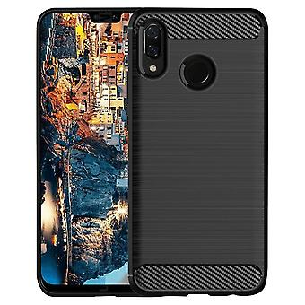 Mobile Protection Rubber for Huawei Y9 (2019) Mobile Shell Carbon Fiber TPU Mobile Protection Black