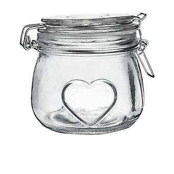 Nicola Frühling Herz Glas Aufbewahrungsglas mit luftdichten Clip Deckel - 500ml - klare Dichtung