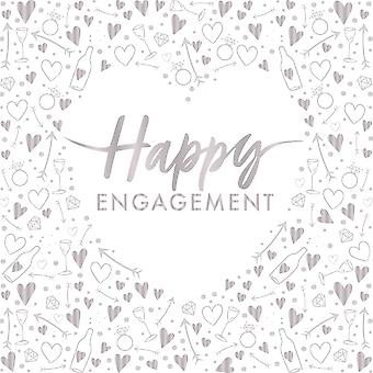 Happy Engagement Silver Foiled Paper Party Napkins 3 ply x 16