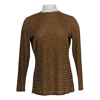 Dennis Basso Women's Top Textured Rib Knit Brone Camel Beige