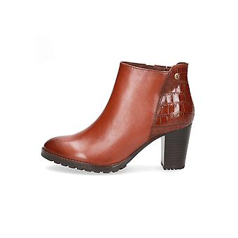 Caprice Meg Heeled Leather Ankle Boots in Cognac