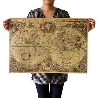 Vintage Kraft Paper-world-map For Decor
