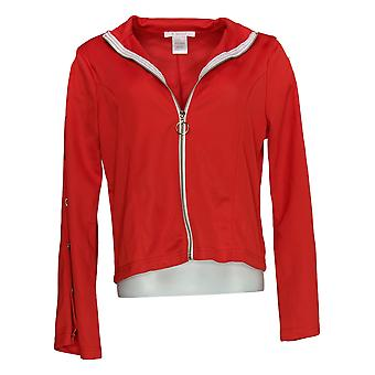 K. Jordan Women's Zip Front Track Jacket with Button Detail Red