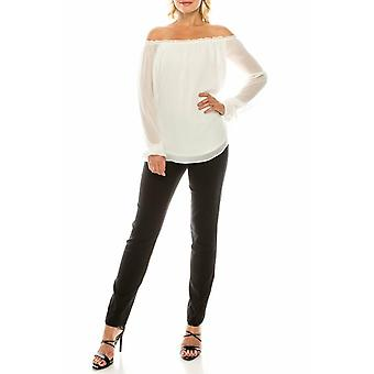 Eggshell Crepe Chiffon Off-the-shoulder Blouse