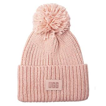 UGG Chunky Rib Knit Beanie Unisex Hat in Pink Cloud