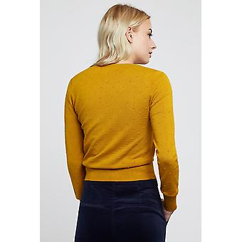 Louche Idie Spot Button Through Cardigan Mustard