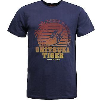 Onitsuka Tiger Mens Casual T-Shirt Short Sleeve Tee Top Navy 109800 0828 A10B