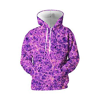 Mens 3d Colorful Galaxy Printed Purple Hoodies With Pockets