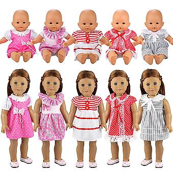 Miunana 5 pcs fashion clothes dresses for baby dolls, for new born baby dolls, for american girl dol