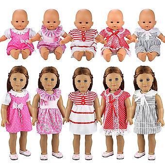 Miunana 5 pcs mode kleding jurken voor baby poppen, voor pasgeboren baby poppen, voor Amerikaanse meisje dol