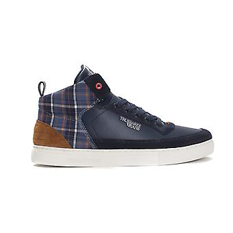 Trussardi Jeans Blue Calf Leather Navy Check Sneakers