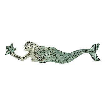 Vintage Look Embossed Tin Swimming Mermaid Wall Hanging