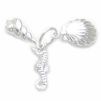 Coquillages et un hippocampe Sterling Silver Charm .925 Charmes de mer - 4505