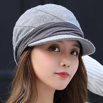 Knitted Winter Solid Plain Octagonal Newsboy Cap, Artificial Wool Hat