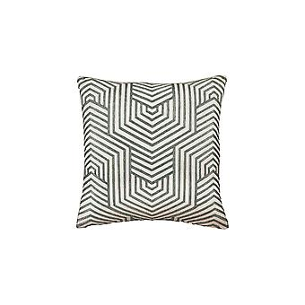 20 X 20 Cotton Accent Pillow With Herringbone Print, Set Of 4, Green And White