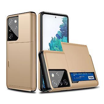 VRSDES Samsung Galaxy S6 Edge - Funda de la cubierta de la ranura de la tarjeta cartera caja de la caja del negocio oro