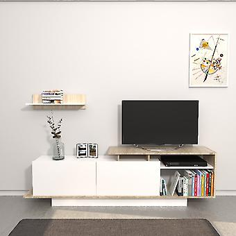 Mobile Porta TV Martin Colore Bianco, Sonoma in Truciolare Melaminico, L180xP30xA53,2 cm