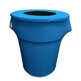 La Linen Stretch Spandex Trash Can Cover 44-Gallon Round,Turquoise