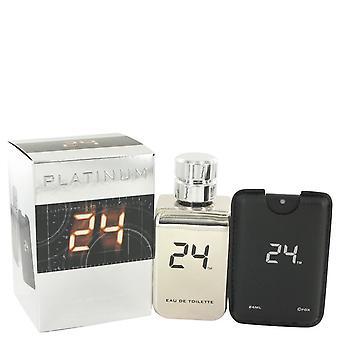 24 Platinum The Fragrance Eau De Toilette Spray + 0.8 oz Mini Pocket Spray By Scentstory 3.4 oz Eau De Toilette Spray + 0.8 oz Mini Pocket Spray