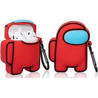Roztomilé legrační kreslené pouzdro pro AirPod 2/1 mezi červenými postavami
