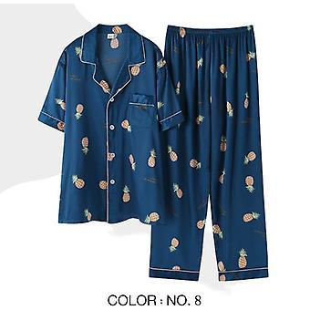 Miesten pyjamasetit, Satiini sleepwear, Yöasut, Raidallinen painettu, Rento Kevät,