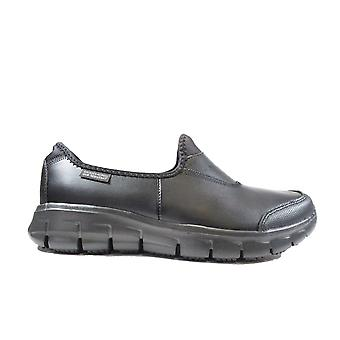 Skechers עבודה:בכושר רגוע® בטוח מסלול 76536EC נשים עור שחור להחליק על נעליים חכמות