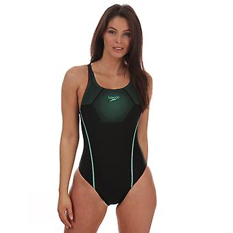 Women's Speedo Hexagonal Tech Medalist Swimsuit in Black