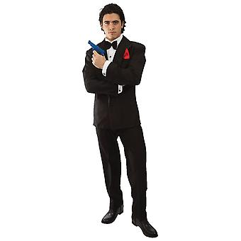 Orion kostuums mens 007 James Bond spion zwart pak film fancy dress kostuum