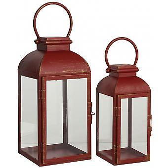 laternen-Set 35 x 16 cm Glas/Holz rot 2-teilig