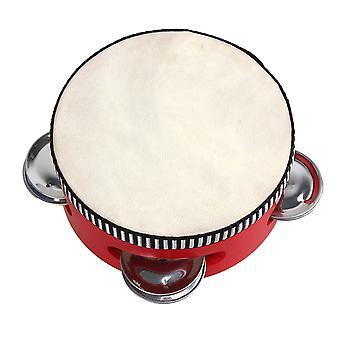 4Inch Red Hand Drum Koulutus Lelu Musikaali Sheepskin Tambourine Beat Instrument