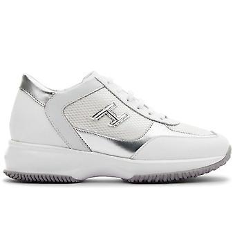 Damen Hogan Interactive White and Silver Sneakers In Leder und Stoff