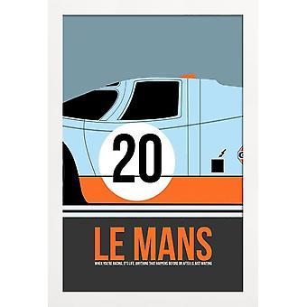 JUNIQE Print -  Le Mans Poster 2 - Filme Poster in Blau & Orange