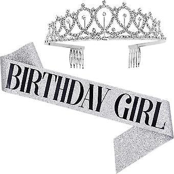 Silver1 syntymäpäivä tyttö vyö ja tekojalokivi päähine kit-syntymäpäivä lahja glitter sisustusvyö tytöille syntymäpäiväjuhlat x2395