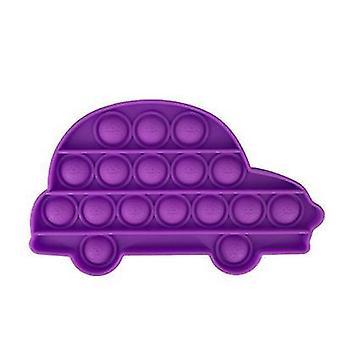 2Pcs紫色の車の形大人の子供たちは自閉症の人々az12321のためのバブル抗うつおもちゃをプッシュ