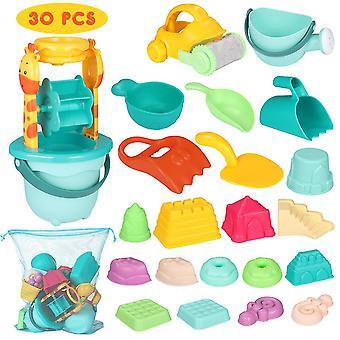 Ibasetoy 30pcs Beach Toy Set Multicolor Sand Mold Kituri cu desene animate matrite si galeata pentru piscine Curte și Sandbox