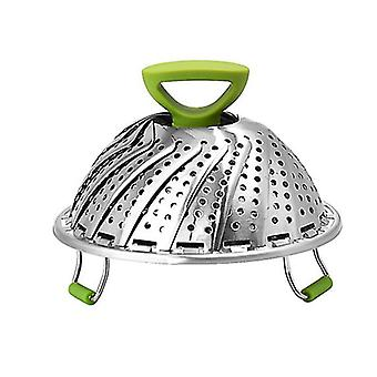 stainless steel foldable retractable steaming tray, portable household fruit drain basket(9 Inch)